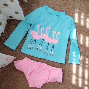 Carter's baby girl flamingo swim set
